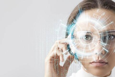 High tech overlay over woman's eye