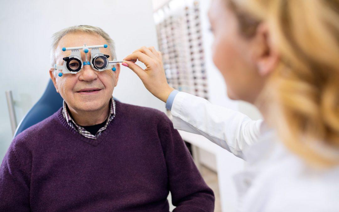 Older man getting eye exam