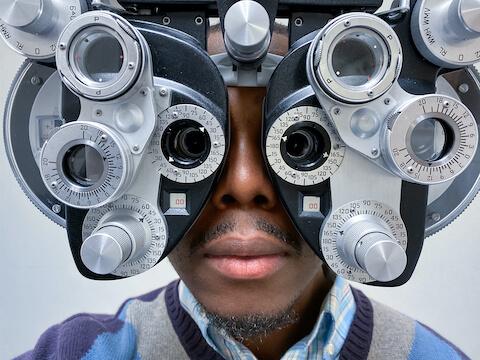 African American man at an eye exam